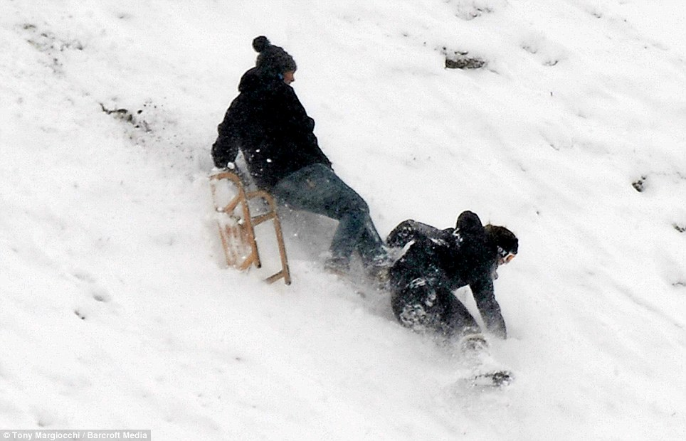 Whoops: But it ends badly as they fly off, with emergency services today asking that people sledge safely after rise in injuries