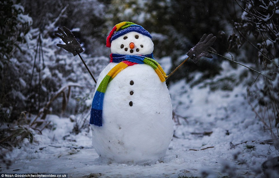 Colourful: A snowman in a residential back garden in Putney, south-west London get a multi-coloured scarf and hat to celebrate the winter