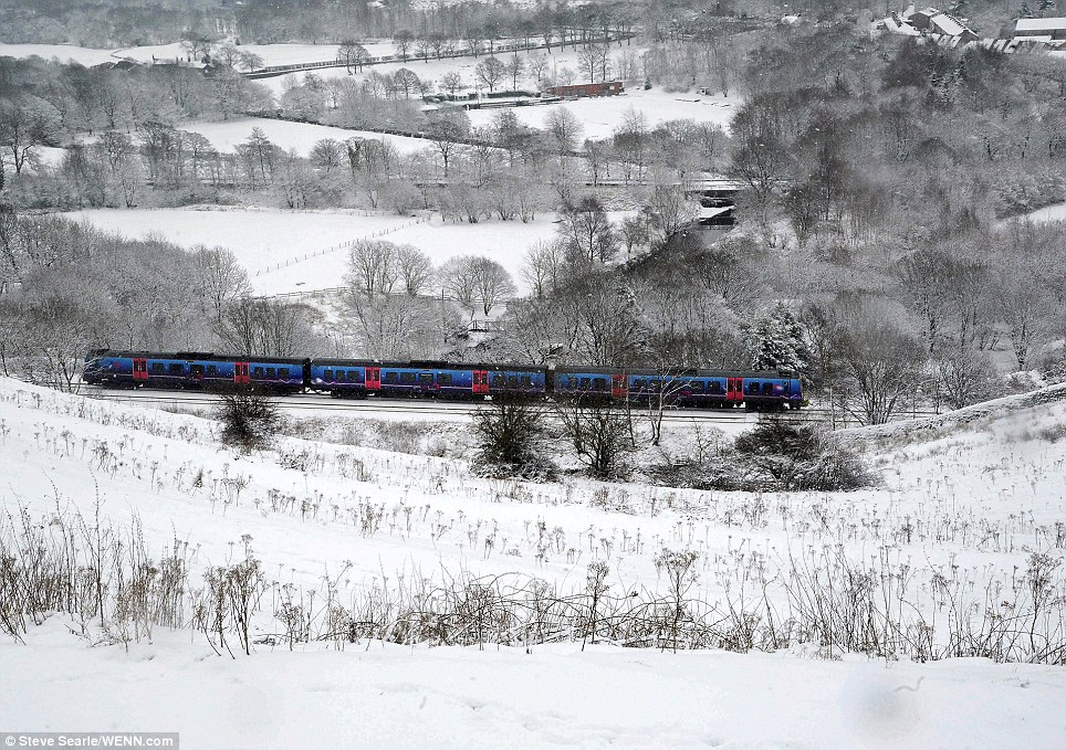 Serene: This passenger train chugs through almost completely white scenery near Mossley in Greater Manchester
