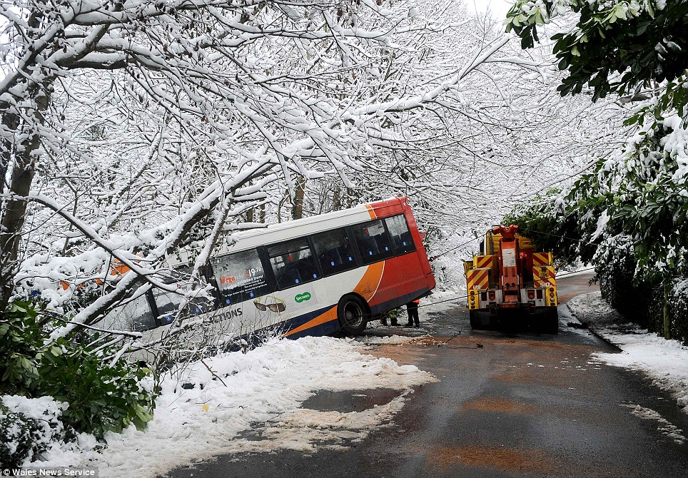 Lucky: Twenty children were apparently uninjured yesterday when their school bus skidded off an icy road in the village of Llanfach, near Abercarn, South Wales as many drivers failed to cope with the slippery conditions