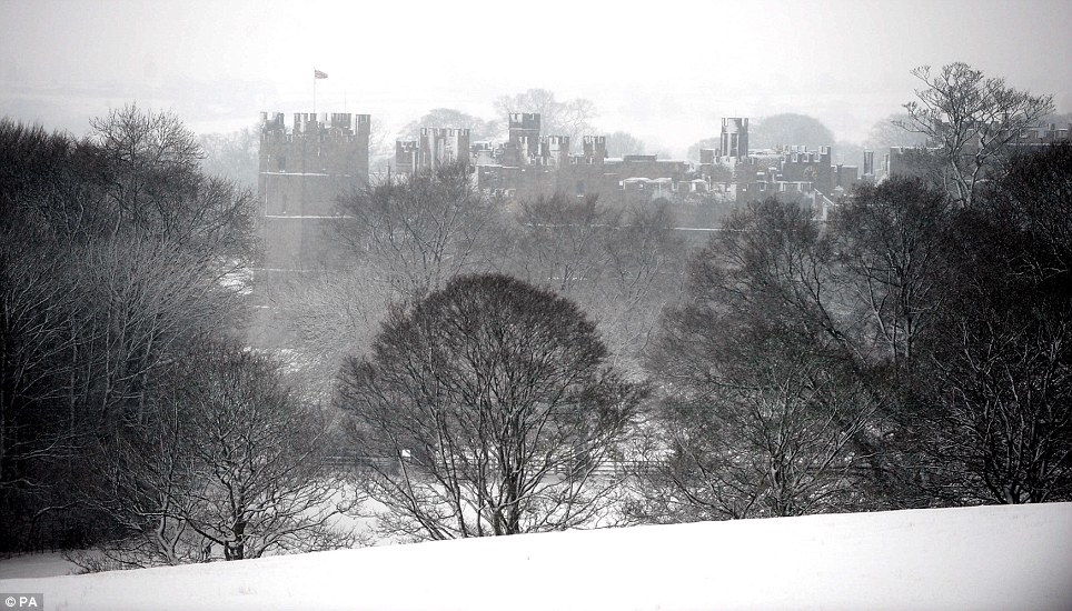 Misty: A snow covered Raby Castle in Staindrop, County Durham, peaks through the trees today - in a typical scene in the north-east