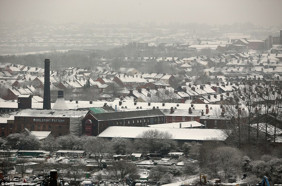 Potteries: The industrial skyline of Stoke-on-Trent, Staffordshire, is pictured as winter weather continues to relentlessly sweep across Britain