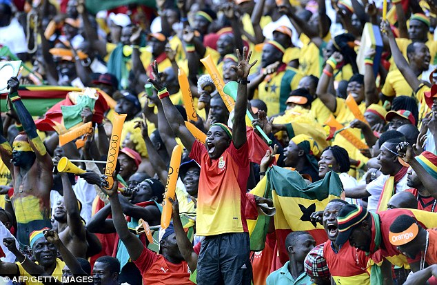 Up for the Cup: Ghana fans were in fine voice during their side's draw with DR Congo