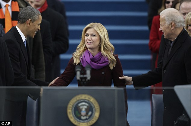 On the podium: Kelly performed My Country 'Tis Of Thee at Obama and Vice President Joe Biden's swearing in ceremony after Obama took the oath of office