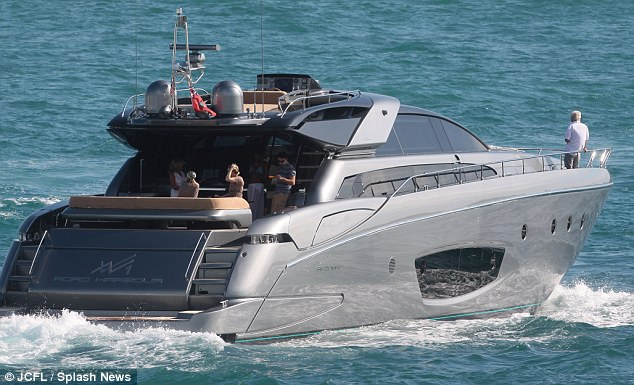 Super yacht: Leo and Naomi hung out on this little baby in Miami, but he appeared to be in a contemplative mood