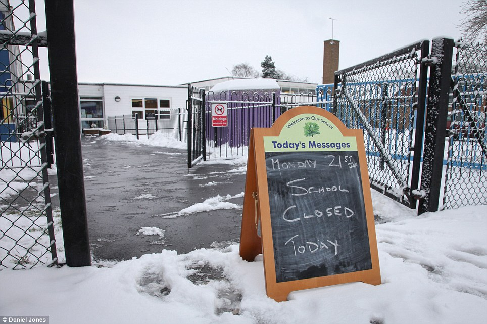 Shut: More than 150 schools in Essex were closed because of snow. This pictures shows a 'school closed' sign outside Wentworth Primary School in Maldon, Essex