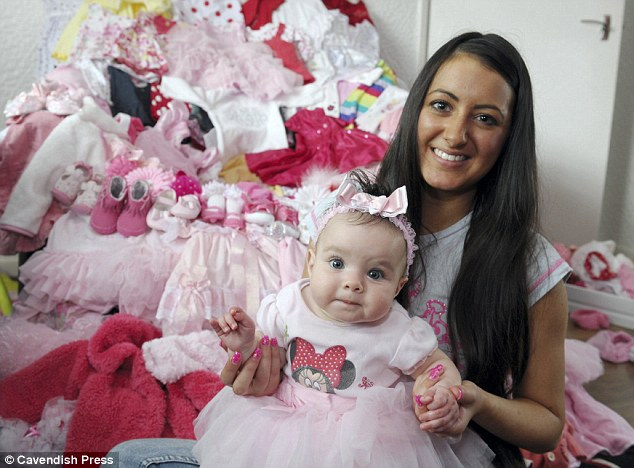 Little princess: Relieved Jordan fan Charley Bradshaw has been showering her baby daughter Princess Tiiaana, who has made an incredible recovery since being born with one lung and one kidney, with designer goodies