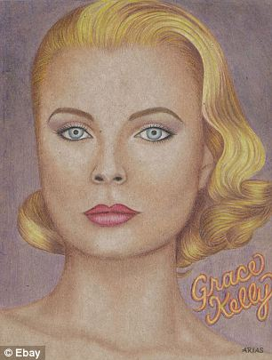 On the auction block: With ten hours left of bidding, the Grace Kelly portrait (left) was going for $305 and the picture of a model titled Pisces #2 (right) was fetching $810