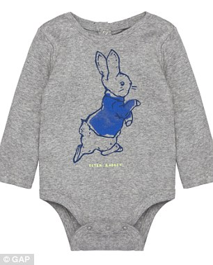 Cute as a button: The grey Rabbit Whiskers Sweater is £14.95 while a baby's bodysuit costs £8.95