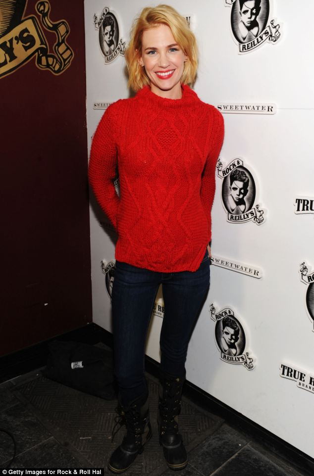Red or dead: January Jones shows off her appealing choice of knitwear at the official cast and filmmakers party for her latest movie, Sweetwater