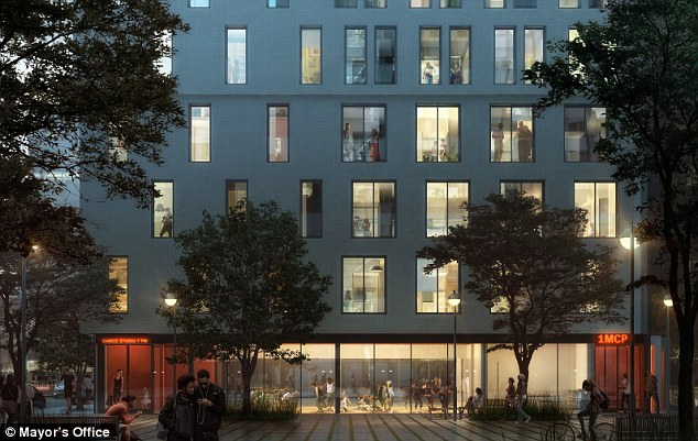 Communal living: The apartment complex will also have an attic garden, gym and ground-floor rehearsal spaces and picnic tables