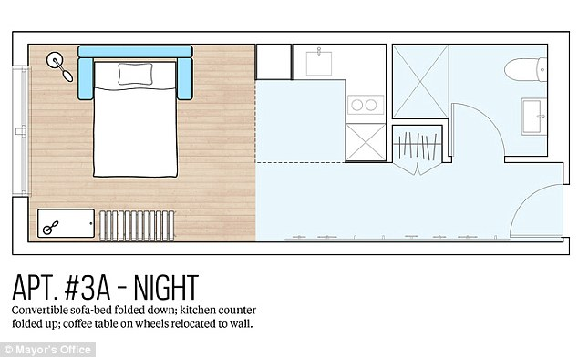 Transformation: The floor plans show how one of the units can be adapted from a living room to a bedroom