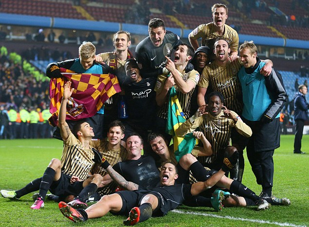 Remarkable story: League Two Bradford celebrate reaching Wembley