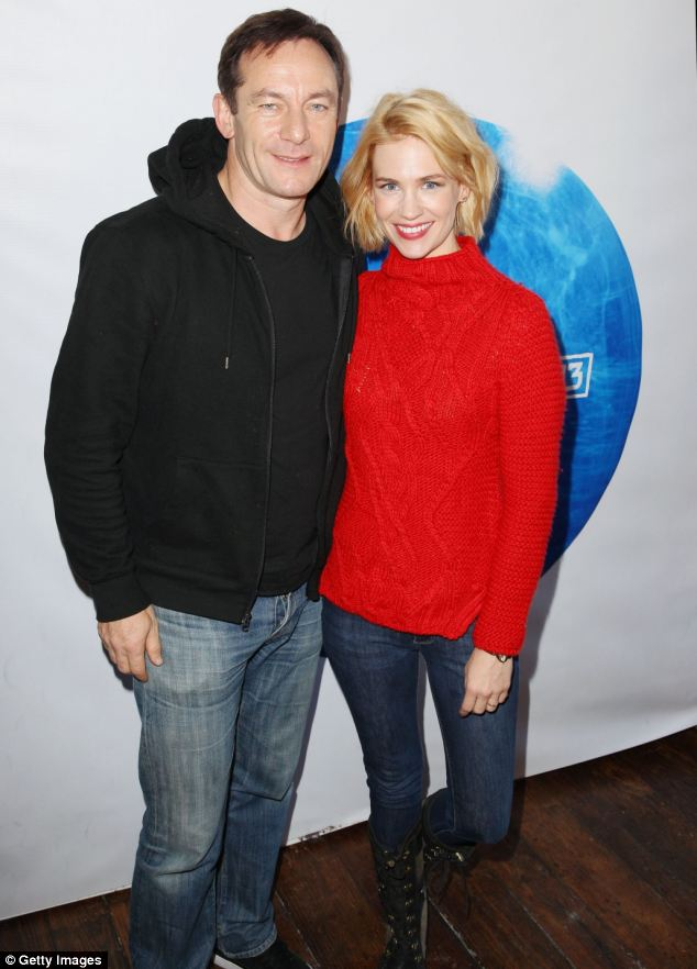 Perfect pairing: January and her co-star Jason Isaacs pose together at the Sundance film festival promoting their latest film Sweetwater
