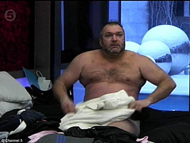 Striptease over: Razor looked on as his ended his streaking episode much to the delight of his housemates
