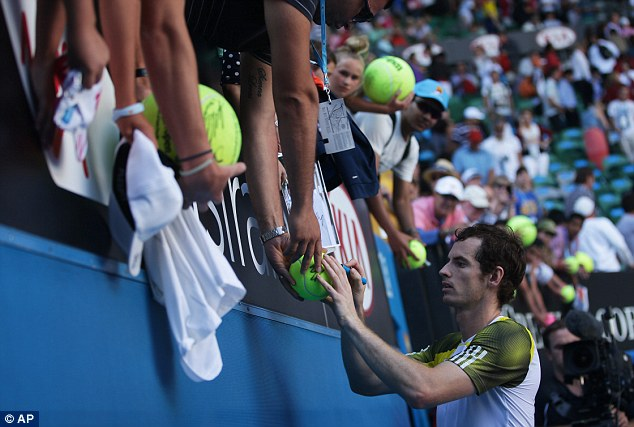 Sign here, Andy: Murray is through to the last four of the Melbourne tournament without dropping a set