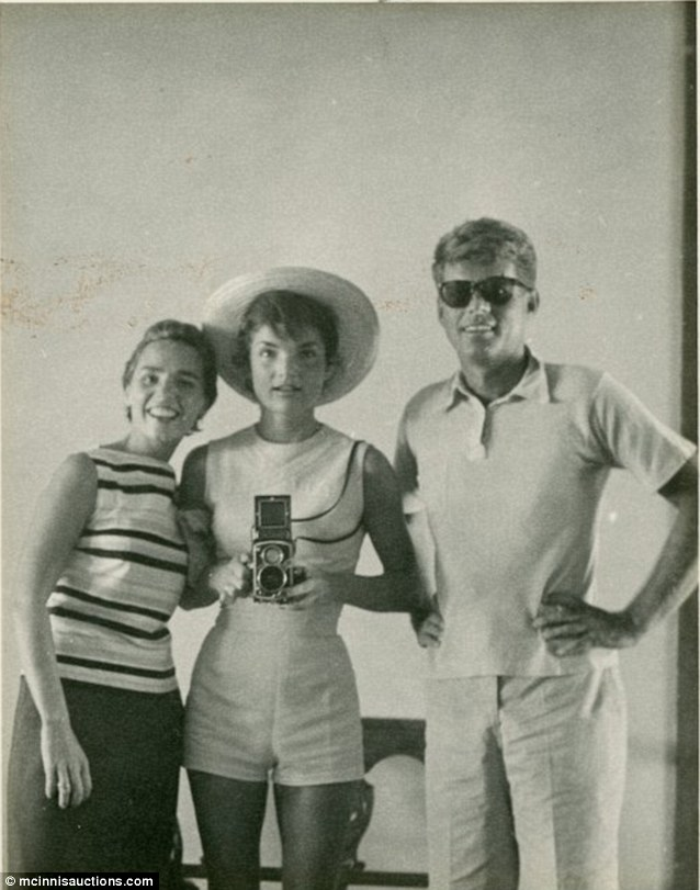 A rare photograph of Ethel Kennedy, left, Jackie Kennedy and the president from 1954, before he was in the White House.