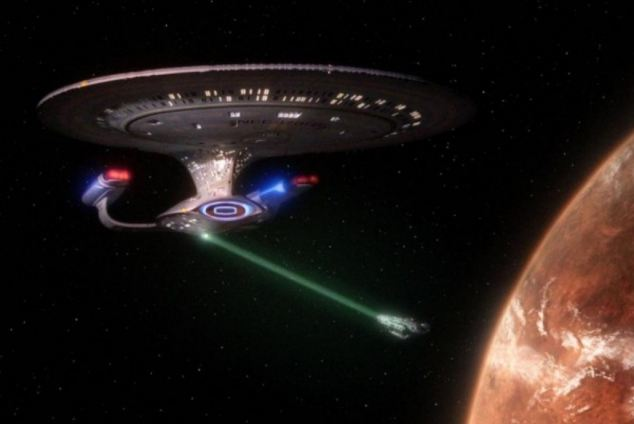The starship enterprise from Star Trek uses it's tractor beam on a smaller spaceship. Scientists have unveiled a prototype of a tractor beam similar to the one's used in the hit Sci-Fi series.
