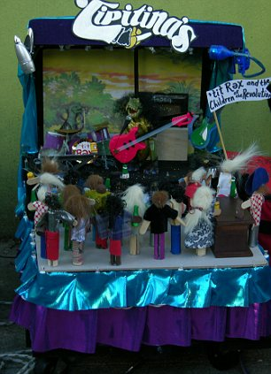 A mini float in the Tit Rex parade during New Orleans
