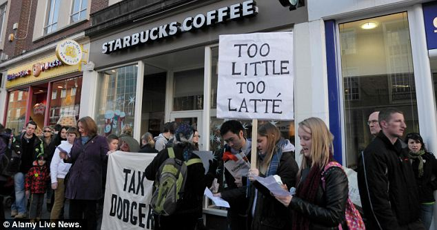 Starbucks: Plenty of protestors around the UK picketed over the company's tax avoidance practices