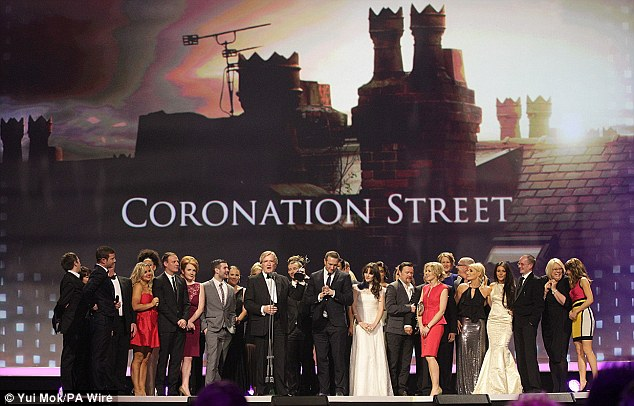 Ambassadors: The cast of Coronation Street filed on stage to collect the Best Serial Drama award