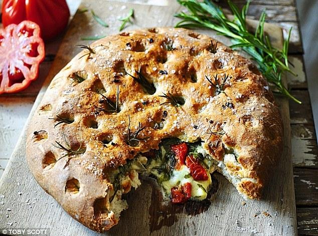 Bread winners! Oozy focaccia bread with spinach & tomato