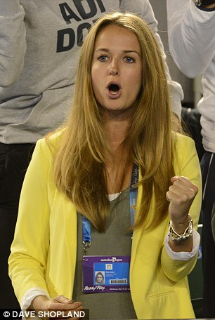 His number one fan: Kim was delighted to see Andy Murray progress to the grand slam final after he defeated Federer in five sets