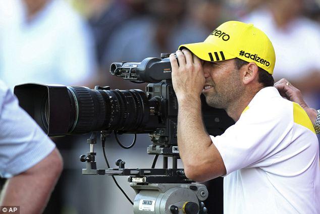 Screen time: Sergio Garcia takes a closer look at the course through a TV camera