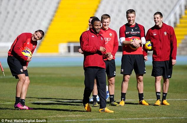 In good spirits: Gaston Ramirez, Jason Puncheon, James Ward-Prowse, Rickie Lambert and Morgan Schneiderlin during training with the Saints in Barcelona