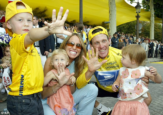 Brood: Armstrong is pictured with his ex-wife Kristin and his other three children - son Luke and daughters Isabella Rose and Grace Elizabeth in 2003 after winning his fifth Tour de France