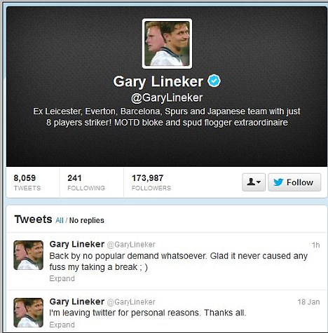 He's back! Gary Lineker returned to Twitter on Saturday night, eight days after deleting his account because it was taking up too much of his time