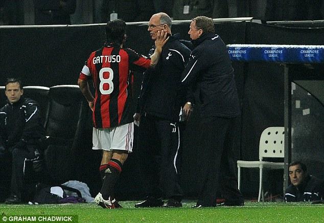 Clash: Jordan had a memorable confrontation with Milan midfielder Gennaro Gattuso after Tottenham won 1-0 at the San Siro in 2011