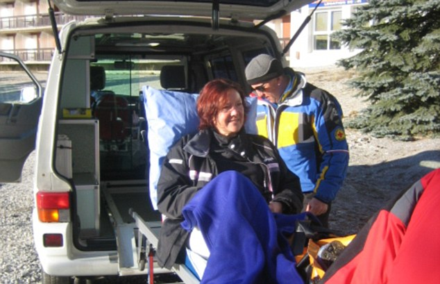 Pain relief: Jane Francis broke a leg on a skiing holiday in the French Alps