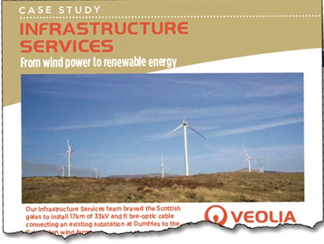 Pictured is a case study page from Veolia's website. Lord Deben chairs the £500million company and said it did not energy-related business
