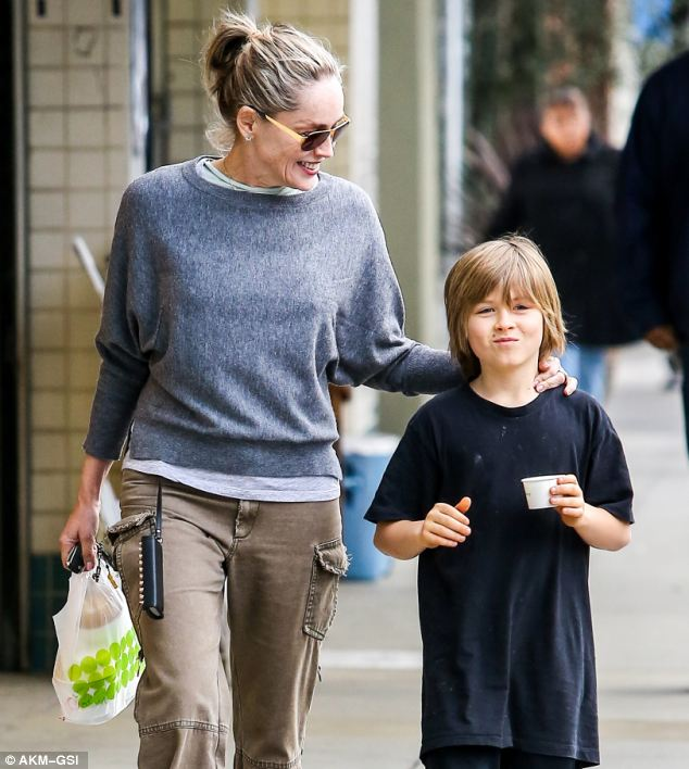 Mother earth: As well as being a Hollywood mega star, Sharon Stone is also a hands on mum
