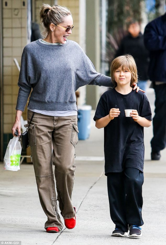 Mother and Son: Sharon Stone is spotted enjoying some downtime in Beverly Hills with her adopted son Roan