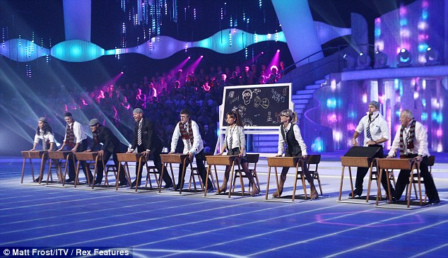 Opening routine: The contestants started the show in their school uniforms as they performed minus their dance partners for the first time