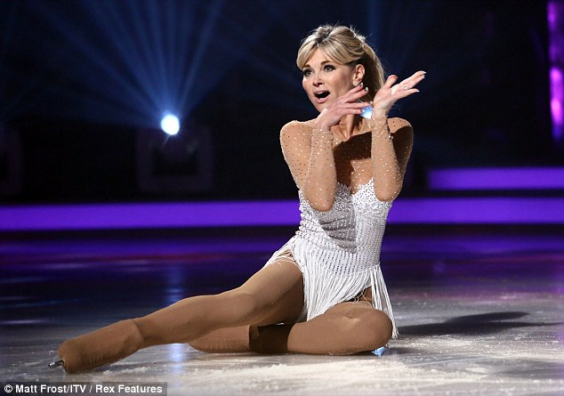 School's out: She showed off her physique in a white ensemble before going for black in the skate off