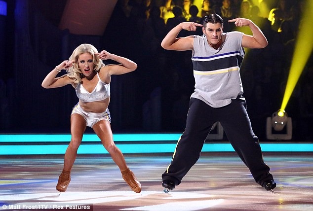 Daring: Matt managed to perform a lift as he glided around the ice on Sunday night's show