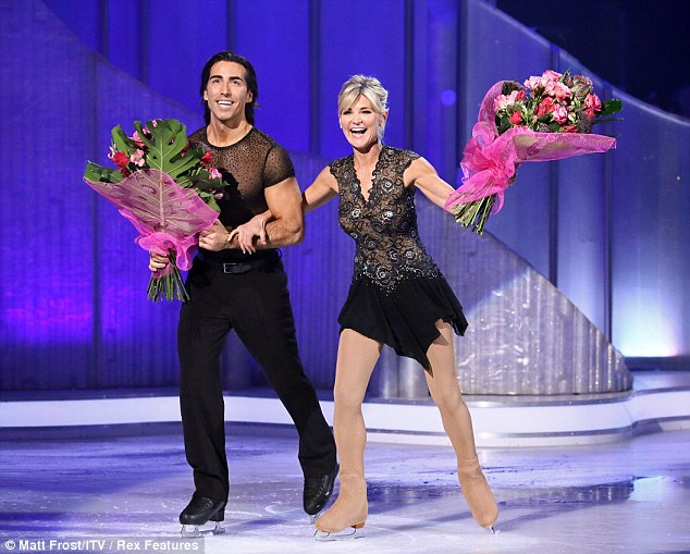 Last skate: Anthea handled her exit well as she held her flowers and made her last appearance on the ice