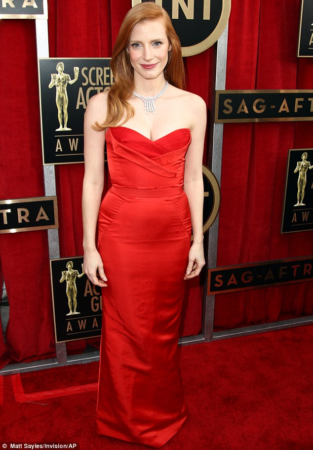 Off to the ball: Jessica Chastain led the way in a sumptuous red gown as Hollywood's leading ladies experimented with drama and fairy tale fashion at the SAG Awards in L.A. on Sunday night