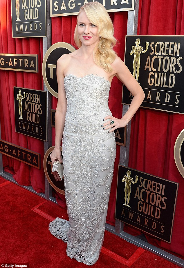 Rich tapestry: Naomi Watts was sumptuous in this delicate silver lace number