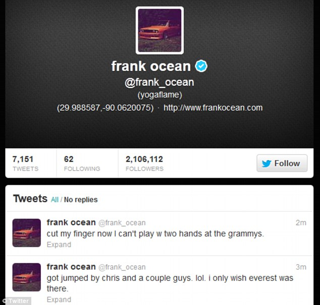 Explanation: Ocean claimed he had cut his finger in the fracas