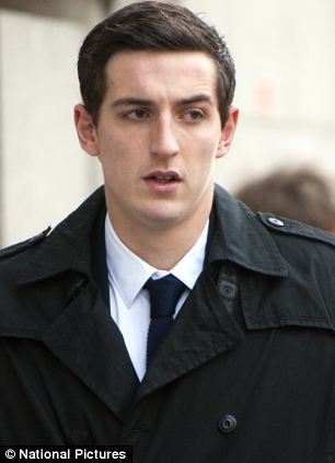 Lewis Dunk outside court today. The four footballers are alleged to have committed the offences at a hotel in Brighton in July 2012