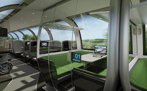 Luxury: The design includes TVs in the headrests and private booths where meetings can be held or people can work or travel in privacy