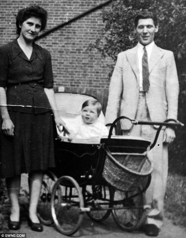 Long life: This picture from  Jim with his son, Barry and wife, Gladys, who he married in 1944