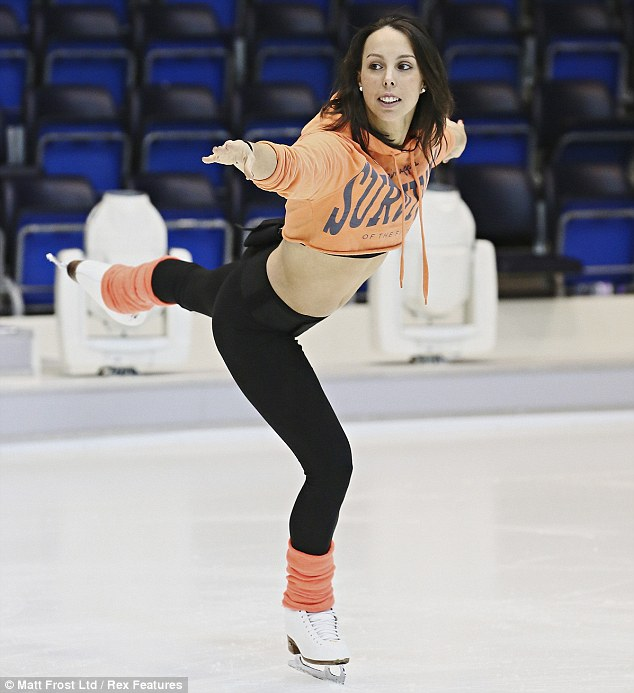 Balancing act: Beth has taken to skating quite well and does more solo skating than the rest of the female contestants