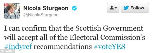 Deputy First Minister Nicola Sturgeon used Twitter to announce the Scottish government would accept the recommendations