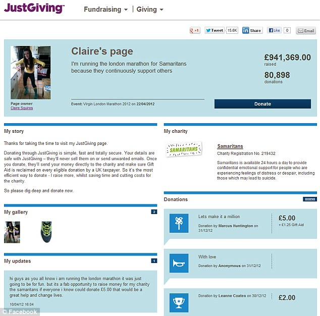 Support: Donations flooded into Claire's Justgiving page after her death