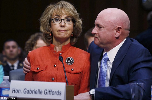 The face of the issue: Former Arizona Democrat Gabrielle Giffords, who was shot at point-blank range in 2011, spoke slowly but determinedly at the Senate Committee on gun violence today in D.C.
